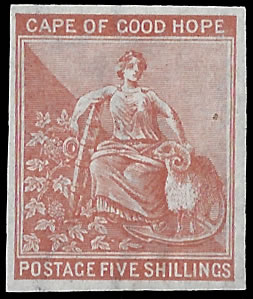 CAPE OF GOOD HOPE 1871 5/- IMPERF PLATE PROOF, RARE