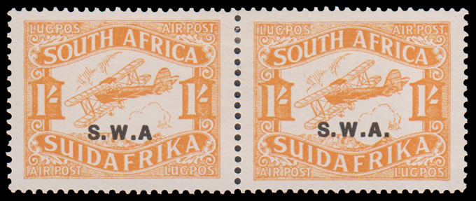 "SOUTH WEST AFRICA 1929 AIRMAIL 1/- NO STOP AFTER ""A"" WITH NORMAL"