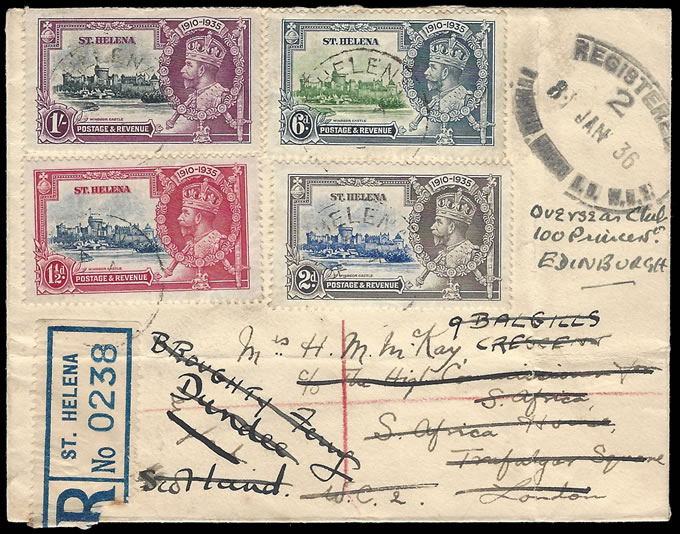 SAINT HELENA 1935 SILVER JUBILEE SET ON REDIRECTED COVER