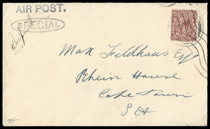 SOUTH AFRICA 1930 CASPAREUTHUS RECORD FLIGHT SIGNED COVER