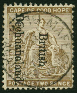 "BECHUANALAND 1893 2d NO DOTS TO ""i"" OF ""BRITISH"" VF/U"