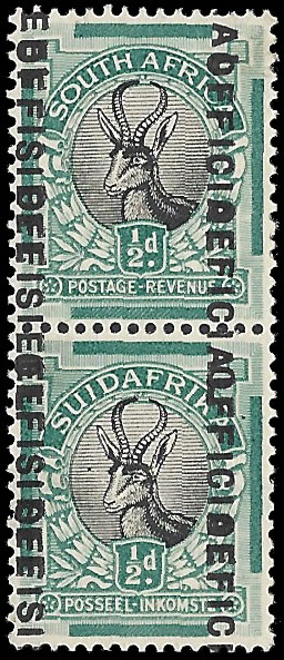 South Africa Officials 1930 ½d Overprint Double VF/M