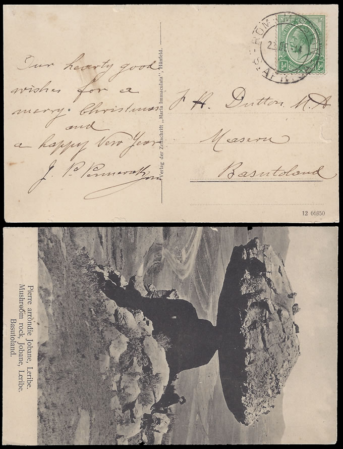 BASUTOLAND 1914 POSTCARD FROM ROMA MISSION, SA ½D