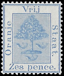 ORANGE FREE STATE 1897 6D BLUE WITHOUT VRI OVPT, UNISSUED