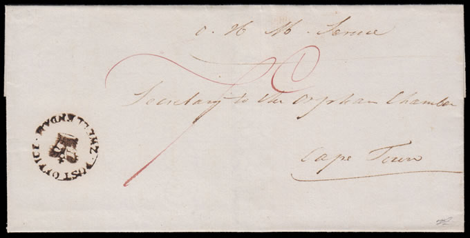 CAPE OF GOOD HOPE 1820 ZWELLENDAM CROWN-IN-CIRCLE WRAPPER