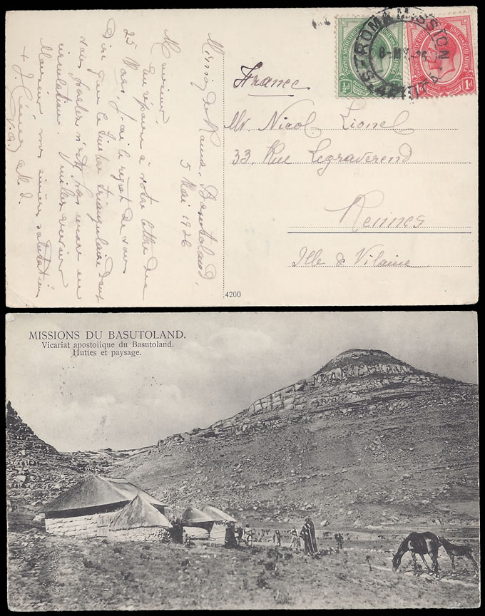 BASUTOLAND 1927 PICTURE POSTCARD ROMA MISSION TO FRANCE