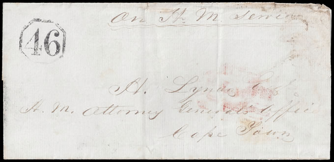 CAPE OF GOOD HOPE 1850 OCTAGONAL 46 ON WRAPPER, RARE
