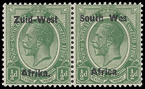 "SOUTH WEST AFRICA 1923 KGV ½D ""WES"" FOR ""WEST"" VF/UM"