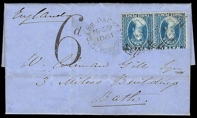 Natal 1861 Delightful Chalon Letter, Internal & Port Charge Paid