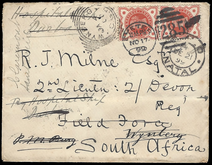 re-directed boer war soldier's letter from england to south africa