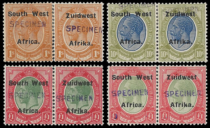 South West Africa 1924 KGV 1/- - £1 Specimens, 2X £1