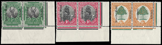 SOUTH WEST AFRICA 1927 ½D - 6D CONTROL CORNER PAIRS