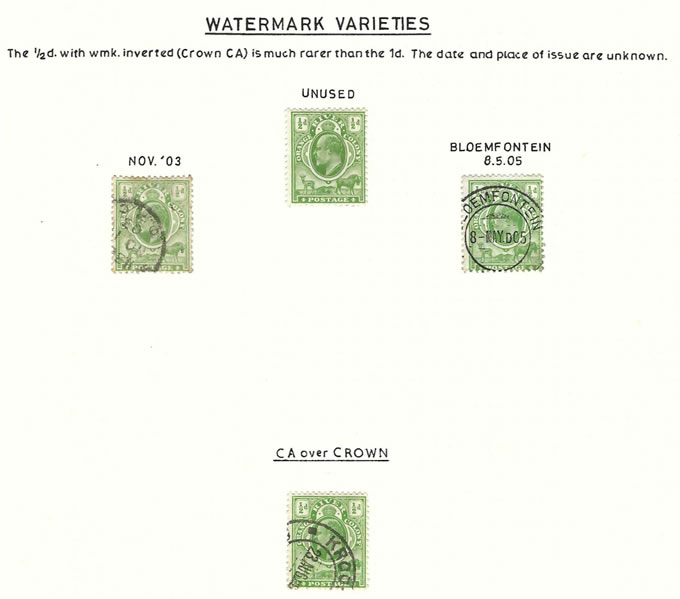 Orange River Colony 1903 KEVII ½d Watermark Variety Group
