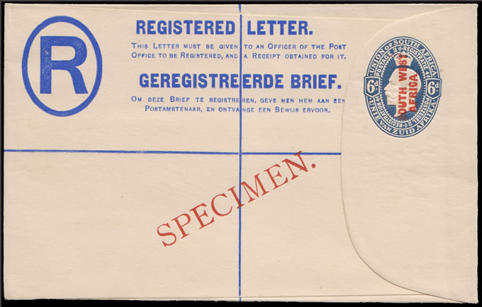 South West Africa 1923 KGV 6d Registration Envelope Specimen