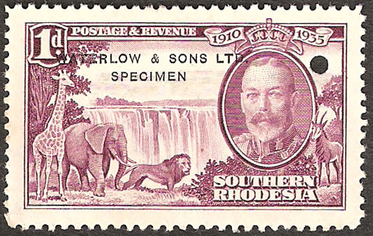 Southern Rhodesia 1935 Silver Jubilee 1d Printer Sample Unissued