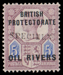 Niger Coast 1892 QV 5d with GB9 Somerset House Specimen