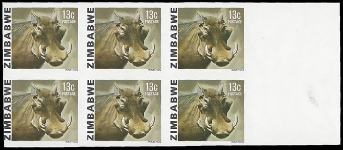 Zimbabwe 1980 13c Warthog Imperforate Block