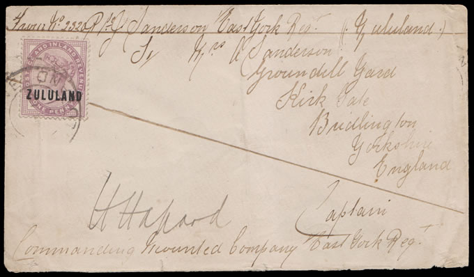 Zululand 1891 Soldier's Letter at 1d Concessionary Rate, Rare