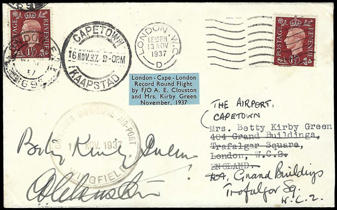 South Africa 1937 Clouston & Kirby Green Roundtrip Signed Cover