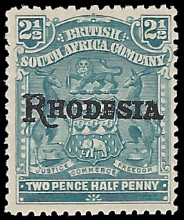 RHODESIA 1909 ARMS OVERPRINTS 2½D VARIETY NO STOP