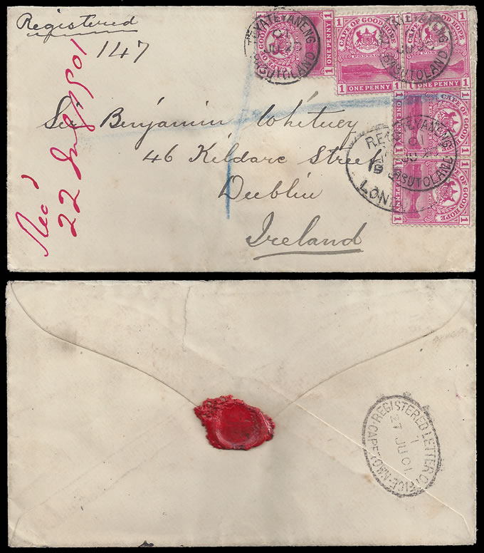 BASUTOLAND 1901 TEYATEYANENG LETTER WITH CAPE 1D'S