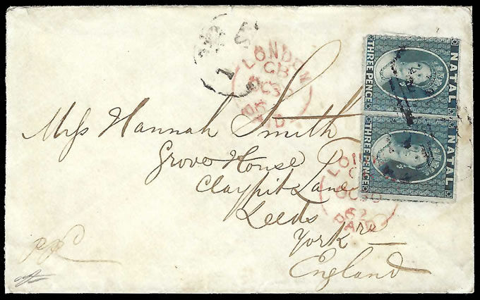 Natal 1862 Delightful Chalon Letter, 6d Fully Prepaid Rate