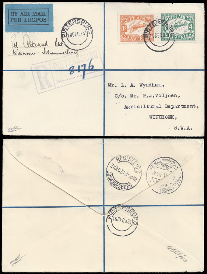 SOUTH WEST AFRICA 1931 PILOT SIGNED IMPERIAL AIRWAYS XMAS