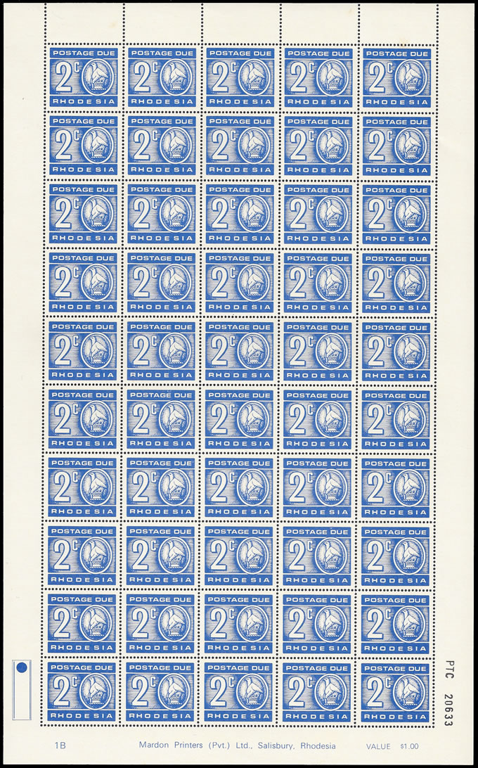 RHODESIA POSTAGE DUE 1970 2C PRINT ON GUM SIDE FULL SHEET!