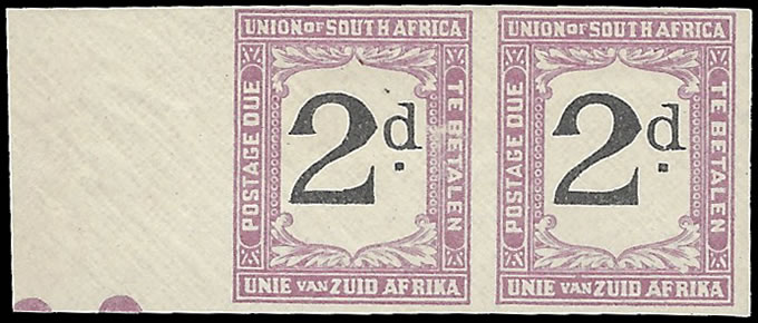 SOUTH AFRICA POSTAGE DUE 1923 2D IMPERF PAIR MARGINAL
