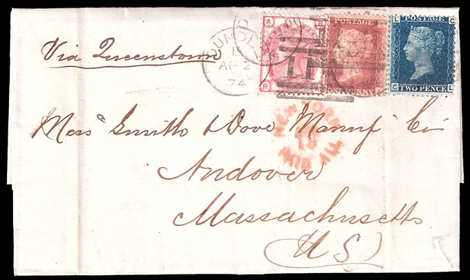 GREAT BRITAIN 1874 THREE ISSUE / THREE COLOUR FRANKING TO USA