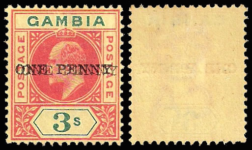 GAMBIA 1906 RARE 1D SURCHARGE DOUBLE WITH CERTIFICATE