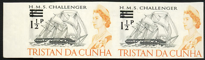TRISTAN DA CUNHA 1971 1½P ON 4D IMPERFORATE VF/UM, RARE