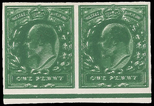 GREAT BRITAIN 1902 KEVII 1D IMPERF PLATE PROOF PAIR, DOUBLE PRIN