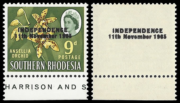 RHODESIA 1966 9D BINDA FORGERY OVPT FRONT & BACK VF/UM