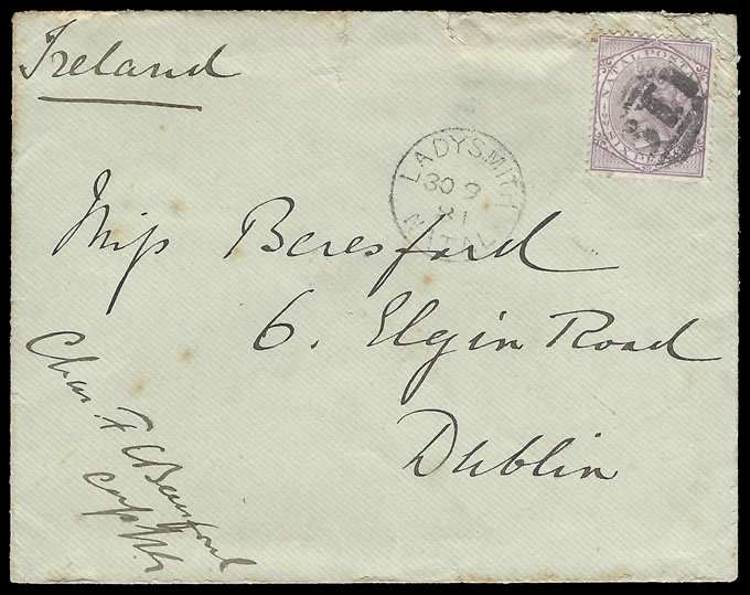 Natal 1881 Officer's Letter 6d Rate from Ladysmith