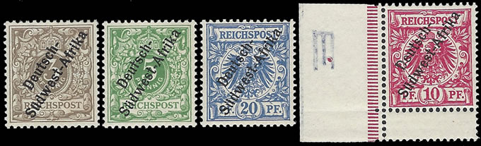 South West Africa 1897 3Pfg - 20Pfg VF/M , Scarce