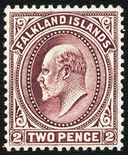 FALKLAND ISLANDS 1912 KEVII 2D REDDISH PURPLE VF/M