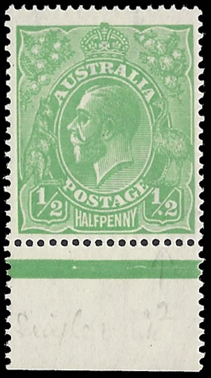 AUSTRALIA 1915 KGV ½D SPOT BEFORE '2' RIGHT VALUE TABLET