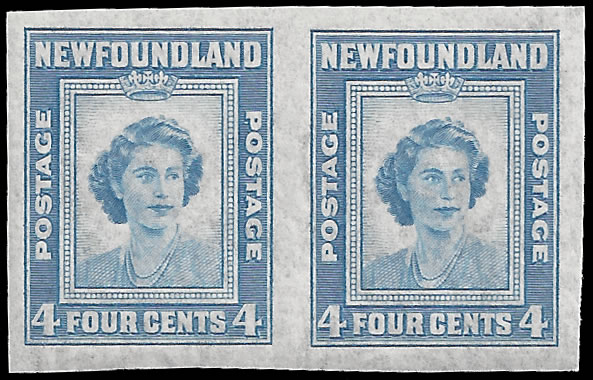 NEWFOUNDLAND 1947 4C FULLY IMPERF PAIR