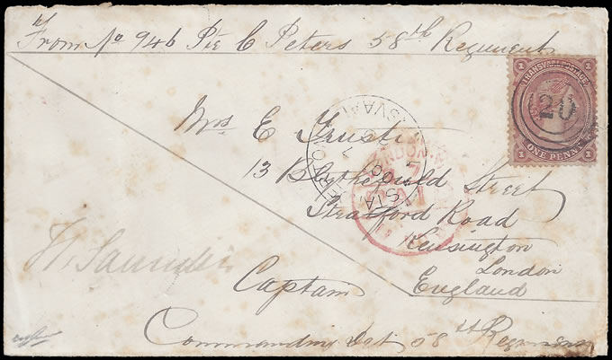 TRANSVAAL 1880 SOLDIERS LETTER AT PENNY RATE