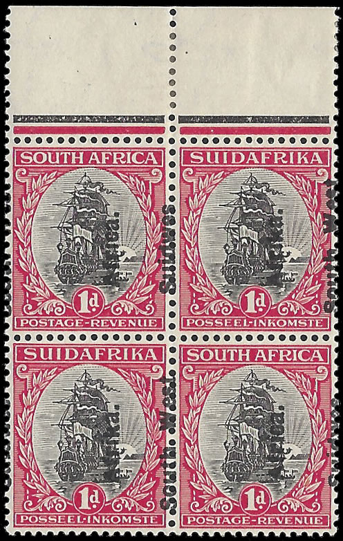 South West Africa 1926 1d Overprints Misplaced Block UM