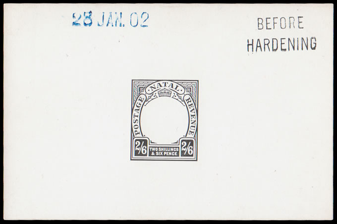 NATAL 1902 KEVII 2/6 POSTAGE REVENUE DIE PROOF BH 28 JAN 02