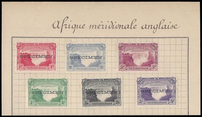RHODESIA 1905 VICTORIA FALLS 1D- 5/- TUNISIAN UPU SPECIMENS