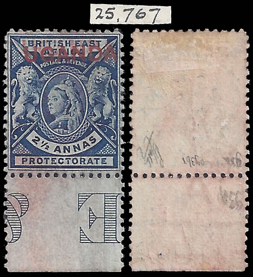 UGANDA 1902 2½A OVERPRINT DOUBLE WITH CERTIFICATE