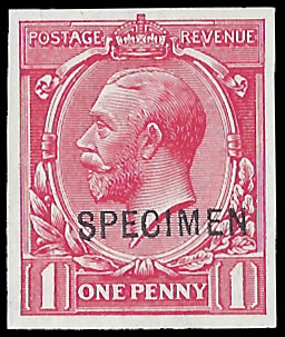 GREAT BRITAIN 1912 KGV 1D IMPERF PLATE PROOF, SPECIMEN