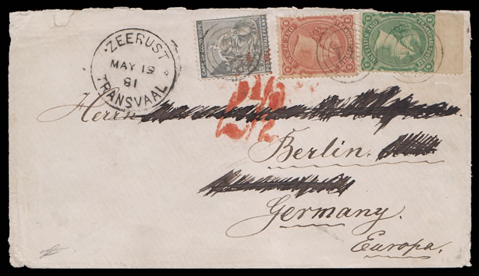 Transvaal 1881 Three-Colour Combination Franking Letter