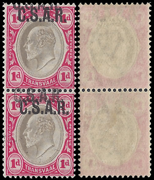 TRANSVAAL 1902 CSAR 1D PAIR DOUBLE OVERPRINTS WITH CERT