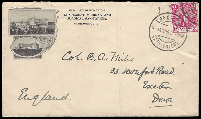 CAPE 1900 MILNE LETTERS CLAREMONT MEDICAL