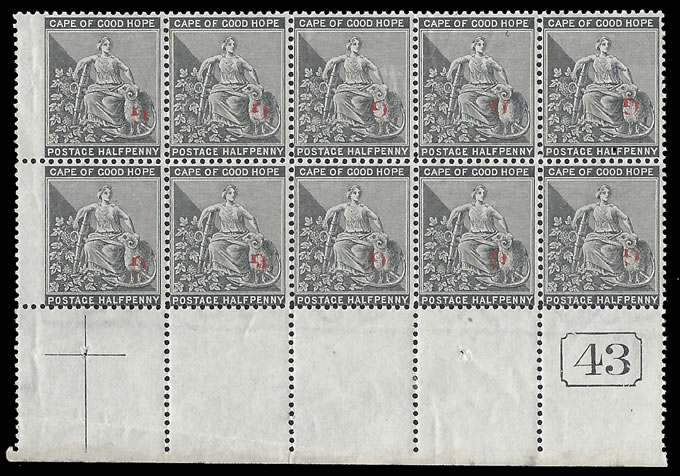 GRIQUALAND WEST 1878 SG 14a ½D RED OVPT INVERTED PLATE NO