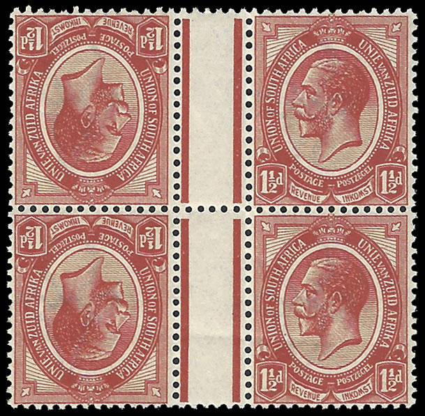 South Africa 1913 KGV 1½d Tete-Beche Vertical Gutter